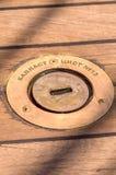 Slut upp av trädäckfartyget arkivfoto