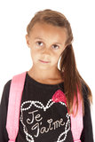 Slut upp av ung flickastudenten med ryggsäcken Royaltyfria Bilder
