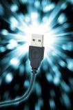 Slut upp av USB proppen Fotografering för Bildbyråer