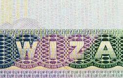 Slut upp av visumet i pass Polen av shengenloppbegreppet Royaltyfri Fotografi