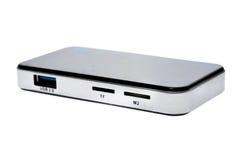 Slut upp av yttre generiska USB 3 0 isolerade kortläsare Arkivfoto