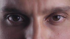 Slut upp bruna ögon av den unga mannen som ser in i kameralinsen Makro stock video