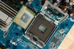 Slut upp CPU-håligheten royaltyfria foton