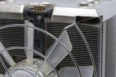 Slut upp CPU som kyler fanen med den aluminum finned kylflänsen arkivbilder