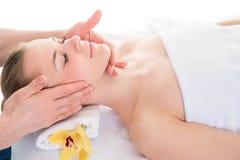 Slut upp den head ståenden av den unga kvinnan som har ansikts- massage i s Arkivbild