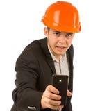 Slut upp den manliga teknikern Taking Mobile Picture Royaltyfri Bild