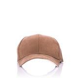 Slut upp den nya bruna baseballhatten beeing begreppskontaktdon fokuserar isolerad skjuten studion omgiven teknologiwhite Royaltyfri Fotografi