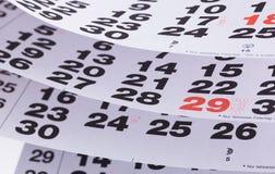 Slut upp en kalendersida Royaltyfri Fotografi