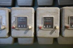 Slut upp gamla dammiga siffraräknare Fotografering för Bildbyråer