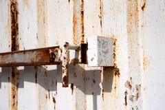 Slut upp gammal stålvers av behållaren Royaltyfri Fotografi