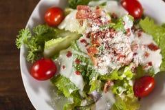Slut upp grönsaksallad med den lilla tomaten Arkivfoton