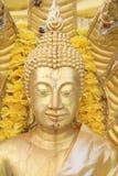 Slut upp, guld- Buddhastaty Royaltyfri Fotografi