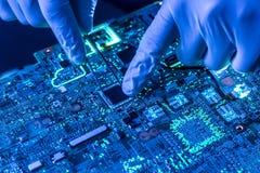 Slut upp härligt nano elektroniskt teknologibräde f royaltyfria foton