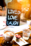 Slut upp kaffe i coffee shop Arkivbild