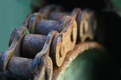 Slut upp kedja och kugghjulet för makro rostig royaltyfri fotografi