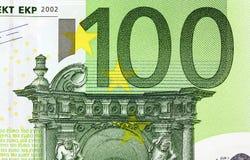 Slut upp makrodetaljen av europengarsedlar Arkivbild