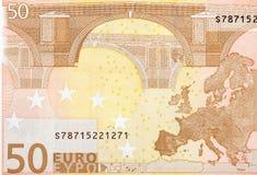 Slut upp makrodetaljen av pengarsedeln för euro femtio Royaltyfri Foto