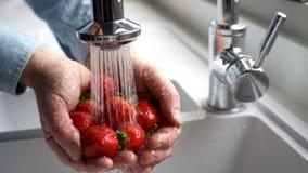 Slut upp mannen som tvättar nya jordgubbar lager videofilmer