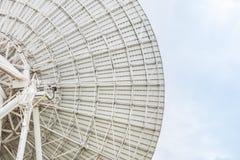 Slut upp maträtt för sikt för tillbaka sida stor vit satellit- royaltyfri fotografi