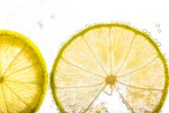Slut upp ny limefrukt som skivas i sodavatten royaltyfri foto
