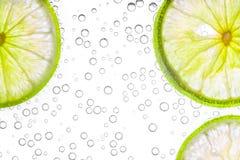 Slut upp ny limefrukt som skivas i sodavatten royaltyfri bild