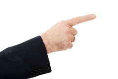 upp på den manliga handen som pekar till rätten Royaltyfri Fotografi