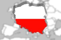 Slut upp på Polen på Europa bakgrund Royaltyfri Bild