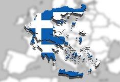 Slut upp på den Grekland översikten på Europa bakgrund Royaltyfri Foto