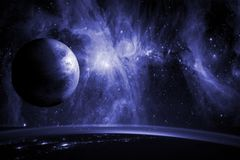 Slut upp planetjordbiosfär i utrymme med stjärnor och galax på bakgrund Beståndsdelar av denna avbildar möblerat av NASA f arkivbild