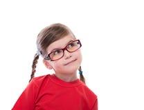 upp portret av bärande exponeringsglas för liten flicka Royaltyfri Foto