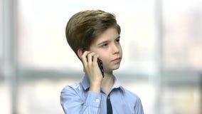 Slut upp pysen som talar på telefonen stock video