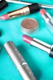 Slut upp rosa läppstift arkivfoton