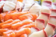 Slut upp sashimien, stor sahimiplatta Royaltyfria Bilder