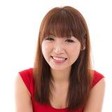 Slut upp ståendeheadshot av den asiatiska kvinnan Fotografering för Bildbyråer