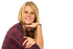 upp ståenden av kvinnligt le för modellplädskjorta Arkivfoto