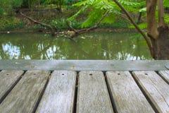 Slut upp trägolv av bron med den härliga landskapsikten av floden med grönt naturligt royaltyfria bilder