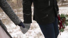 Slut upp videoen av den ledande bruden för brudgum vid handen som går på pinjeskogen för vintersnöväder under snöfall snowing