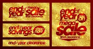Slutet av chic guld- baner för årsförsäljningen ställde in, sista rensning, besparingar stock illustrationer