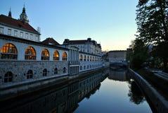 Slutet av dagen i Ljubljana Fotografering för Bildbyråer