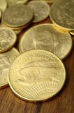 Den guld- amerikanen myntar Royaltyfri Bild
