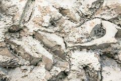 Slutet av en buse texturerade upp murbrukväggbeläggningen, efterföljd av stenmurverket Abstrakt grå patchy bakgrund Arkivfoton