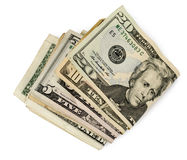 Slutet av folden upp amerikanska pengar Royaltyfri Fotografi