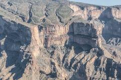 Slutet av geologi av Jebel hycklar upp Oman Arkivfoto