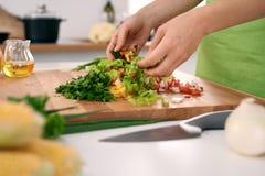 Slutet av kvinna` s räcker upp matlagning i köket Hemmafru som skivar ny sallad Vegetarian och laga mat healthily royaltyfria foton