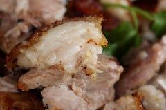 Slutet av späcker upp, den strimmiga grisköttmaträtten, receptet för stek för grisköttbuken, Ge Royaltyfri Fotografi