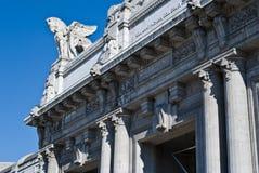 Den Milano Centrale järnvägen posterar royaltyfri fotografi