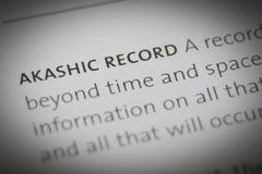 Slutet för ordAkashic rekord upp på papper arkivbild