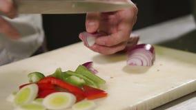 Slutet sköt upp av händerna för kock` s, honom klipper en röd lök in i stycken stock video