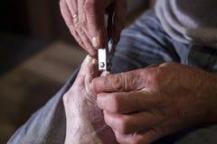 Slutet sköt upp av hängiven man som den bitande portionen spikar av hans bild för skäraren för moderhälsovårdbegreppet Royaltyfri Fotografi