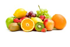 Slutet sköt upp av hög av frukt arkivbild